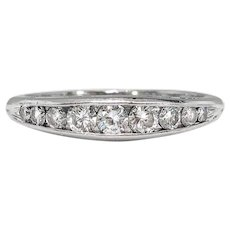 Art Deco Diamond Wedding Band Circa 1930's .44ct t.w. Channel Set Vintage Antique Stacking Anniversary Ring Platinum