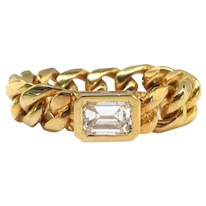 Vintage .39ct Bezel Set Emerald Cut Diamond Chainlink Stacking Statement Ring 18k Yellow Gold