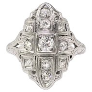Vintage Diamond Navette Ring Circa 1930's .49ct. tw. Art Deco Statement Engagement Ring Palladium