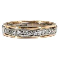 Vintage Diamond Wedding Band .15ct t.w. Estate 1970's Two Tone Wavy Diamond Stacking Ring 18k Yellow White Gold Size 5.75