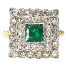 Vintage Emerald Double Diamond Halo Ring 1.88ct t.w. Circa 1970's Cocktail Birthstone Ring 18k Yellow White Gold