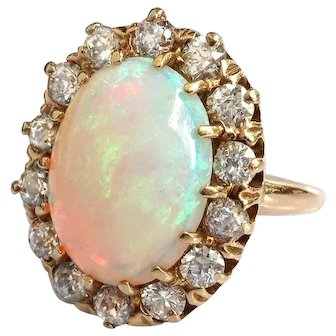 Antique Opal Diamond Ring Circa 1900's 4.94ct t.w. European Cut Diamond Halo Statement Unique Engagement Ring 14k Yellow Gold