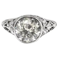 Art Deco Engagement Ring Circa 1920's 1.88ct t.w. Bezel Set Old European Cut Diamond Filigree Wedding Ring Platinum