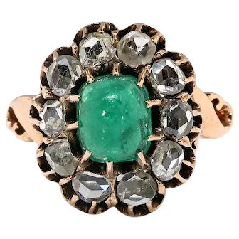 Antique Emerald Diamond Ring Circa 1890's Victorian 1.60ct t.w. Cabochon Rose Cut Engagement Statement Ring 10k Rose Gold