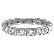 Art Deco Diamond Band Circa 1930's .72ct t.w. Eternity Stacking Wedding Anniversary Ring 18k White Gold Size 6.25