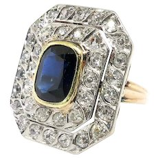 Vintage Sapphire Diamond Ring 4.79ct t.w. Circa 1930's Art Deco Double Halo Wedding Birthstone Engagement Ring 14k Yellow White Gold