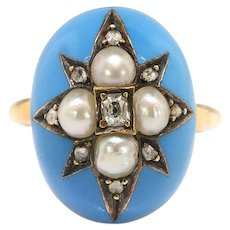 Victorian Diamond Pearl Blue Enamel Star Ring Circa 1880's .11ct t.w. Cocktail Old Mine Cut Rose Cut Antique Ring 14k 12k Gold