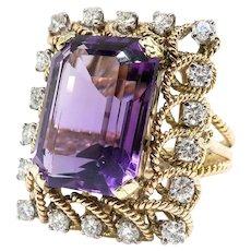 Vintage Amethyst Diamond Ring Circa 1950's 12.67ct t.w. Emerald Cut Amethyst and Diamond Rope Halo Ring 14k Yellow Gold