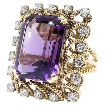 Vintage Amethyst Diamond Ring Circa 1950's 12.67ct t.w. Emerald Cut Amethyst and Diamond Rope Halo Ring 14k Yellow Gold