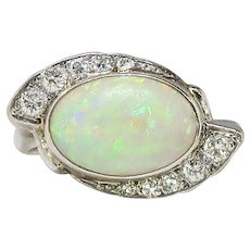 Vintage Opal Diamond Ring Circa 1950's 2.03ct t.w. White Oval Opal Birthstone Cocktail Engagement Ring 14k White Gold