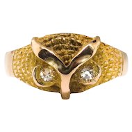 Antique Diamond Owl Ring Circa 1900's .06ct t.w. Single Cut Diamond Statement Boho Chic Figural Ring 18k Yellow Gold