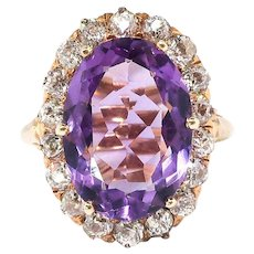 Antique Amethyst Diamond Ring Circa 1900's 6.11ct t.w. Old European Cut Halo Unique Statement Engagement Ring 14k Yellow Gold