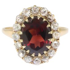 Antique Garnet Diamond Ring Circa 1890's 3.80ct t.w. Oval Old European Cut Halo Engagement Birthstone Ring 14k Yellow Gold