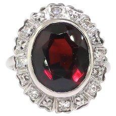 Vintage Garnet Diamond Ring Circa 1940's 6.14ct t.w. Oval January Birthstone Old Single Cut Diamond Halo Ring 14k White Gold