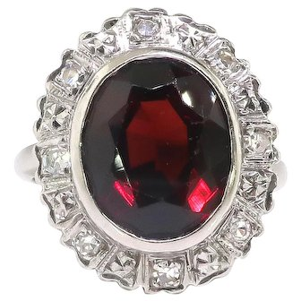 Vintage Garnet Diamond Ring Circa 1940's 6.14ct t.w. Oval January Birthstone Old Single Cut Diamond Halo Ring 14k White Gold