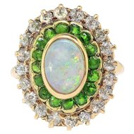 Antique Opal Green Garnet Ring Circa 1900's 2.53ct t.w. Art Nouveau Tsavorite Old European Cut Diamond Halo Unique Ring 14k Yellow Gold