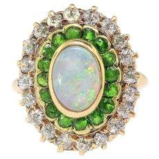 Antique Opal Green Garnet Ring Circa 1900's 2.53ct t.w. Art Nouveau Tsavorite Old European Cut Diamond Halo Unique Ring 14k Yellow Gold
