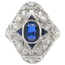 Vintage Sapphire Diamond Ring Circa 1930's 2.28ct t.w. Art Deco Hand Engraved Filigree Antique Anniversary Wedding Engagement Ring Platinum