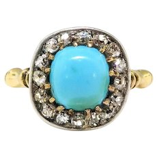 Victorian Turquoise Diamond Ring Circa 1890's 1.56ct t.w. Antique Cut Diamond Halo Unique Engagement Ring 18k Yellow Gold Silver Top