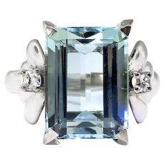Vintage Aquamarine Diamond Ring Circa 1940's 4.62ct t.w. Emerald Cut Birthstone Cocktail Statement Wedding Engagement Ring 18k White Gold