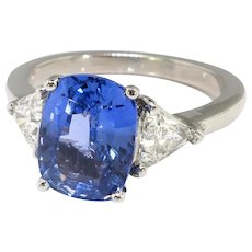 Vintage Sapphire & Trillion Diamond Ring 3.93ct t.w. Cushion Engagement Anniversary Birthstone Ring Platinum
