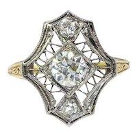 Antique Edwardian Diamond Ring Circa 1920's .54ct t.w. Old European Cut Diamond Filigree Hand Engraved Unique Ring 18k Yellow White Gold