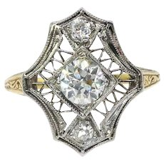 Antique Edwardian Diamond Ring Circa 1920's .54ct t.w. Old European Cut Diamond Filigree Hand Engraved Unique Ring 18k Yellow White Gold