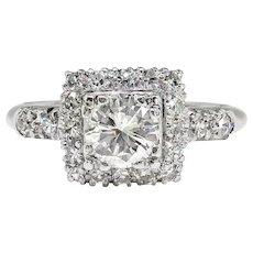 Vintage 1940's Diamond Halo Engagement Ring .92ct t.w. Transitional Cut Diamond Wedding Anniversary Unique Antique Ring Platinum