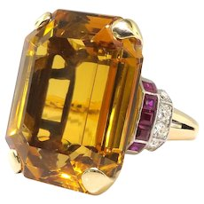 Vintage Citrine Ruby Diamond Cocktail Ring Circa 1940's 39.95ct t.w. Emerald Cut Retro Estate Antique Birthstone Statement Ring 14k Gold