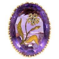Antique Amethyst Diamond Ring Victorian Circa 1890's 16.21ct t.w. Rose Cut Flower Vintage Birthstone Unique Statement Ring 14k Yellow Gold