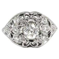 Vintage Diamond Engagement Ring Circa 1940's .87ct t.w. Old European Cut Diamond Filigree Wide Wedding Anniversary Ring 14k White Gold