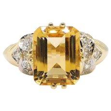 Vintage Citrine Diamond Ring Circa 1990's 2.96ct t.w. Emerald Cut Honey Citrine Birthstone Right Hand Ring Cocktail Statement Ring 14k Gold