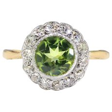 Edwardian Peridot Diamond Ring Circa 1915 1.42ct t.w. Antique Halo Two Tone Cocktail Birthstone Engagement Ring 18k Yellow Gold Silver
