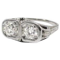Antique Toi Et Moi Ring Circa 1920's 1.04ct t.w. Vintage Edwardian Old European Cut Diamond Wedding Anniversary Engagement 20k White Gold