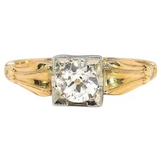 Vintage Diamond Engagement Ring Circa 1940's .27ct Antique Old European Cut Solitaire Wedding Promise Ring 14k Two Tone Yellow White Gold