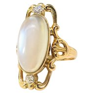 Antique Moonstone Diamond Ring Art Nouveau Circa 1900's 4.95ct t.w. Vintage Navette Old European Cut Three Stone Ring 14k Yellow Gold