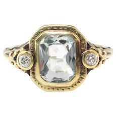 Art Deco Aquamarine Diamond Ring Vintage Circa 1930's 1.33ct t.w. Filigree Old European Cut Birthstone Engagement Ring 14k Yellow Gold