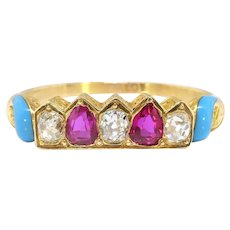 Antique Turquoise Ruby Diamond Crown Ring Circa 1890's 1.26ct t.w. Victorian Old Mine Cut Hand Engraved Stacking Tiara Band 18k Yellow Gold