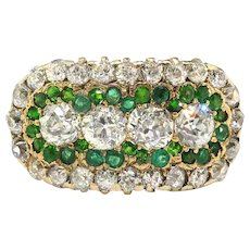 Antique Diamond Green Garnet Ring 1.73ct t.w. Circa 1900's Old European Cut Demantoid Tsavorite Anniversary Wedding Ring 14k Yellow Gold