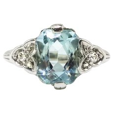 Art Deco Aquamarine Diamond Ring Vintage Circa 1930's 2.06ct t.w. Radiant Cut Engagement Birthstone Cocktail Filigree 18k White Gold Ring