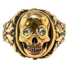Vintage Diamond Skull Ring Circa 1950's Handmade Victorian Style Skeleton Rose Cut Diamond Memento Mori Ring Antique 18k Yellow Gold
