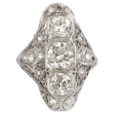 Vintage Art Diamond Ring Circa 1930's Antique 2ct t.w. Old European Cut Platinum Filigree Navette Anniversary Cocktail Ring Wedding Gift