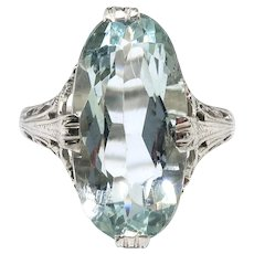 Art Deco Aquamarine Ring Vintage 1930's 3.70ct Oval Solitaire Antique Filigree Engagement Birthstone Ring 18k White Gold