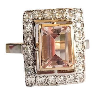 Estate Peach Morganite Diamond Halo Ring 1.97ct t.w. Emerald Cut Cocktail Ring 18K Yellow and White Gold