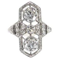 Antique Edwardian Diamond Ring Vintage 1920's 1.33ct t.w. Old European Cut Navette Cocktail Unique Engagement Anniversary Ring Platinum