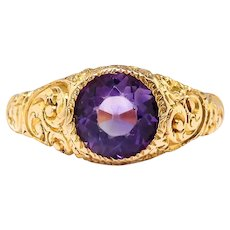 Antique Amethyst Ring Circa 1900's 2.53ct Bezel Set Art Nouveau Vintage Hand Engraved Chased Large Unisex Wedding Band Ring 14k Yellow Gold