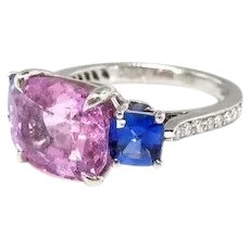 Cushion Sapphire Diamond Ring Estate 7.42ct t.w. Three Stone Pink Blue Sideways Set Push Present Engagement Birthstone Wedding Ring Platinum