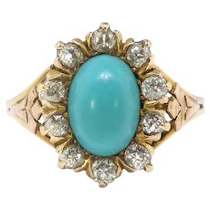 Antique Turquoise Diamond Ring Circa 1900's 2.33ct t.w. Art Nouveau Old European Cut Diamond Halo Unique Engagement Ring 14k Yellow Gold