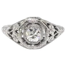 Art Deco Engagement Ring Vintage 1930's .25ct Old Transitional Cut Diamond Solitaire Filigree Wedding Ring 18k White Gold