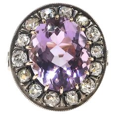 Edwardian Amethyst Diamond Ring Antique 1900's 8.25ct t.w. Russian Rose de France Old European Cut Halo Cocktail Vintage Ring 14k Silver